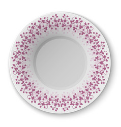 Plate with crimson pattern vector