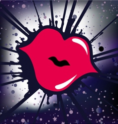 retro lips vector image vector image