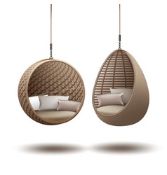 wicker hanging chairs vector image