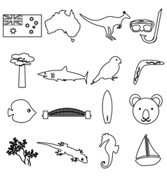 Australia country theme outline icons set eps10 vector image vector image