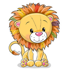 cute cartoon lion isolated on a white background vector image vector image