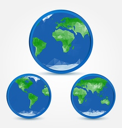 Globe earth abstact icons in polygonal style - vector image