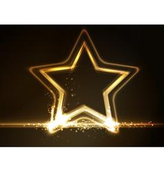 Golden glowing star frame vector image vector image