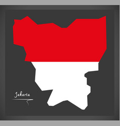 jakarta indonesia map with indonesian national vector image