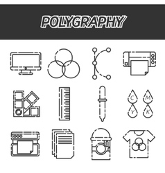 Polygraphy flat icons set vector image