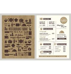 Restaurant menu with silhouette kitchen utensils vector image