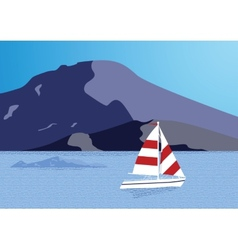 Sea background with yacht vector