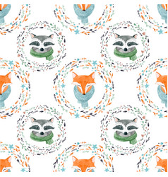 watercolor cute animal pattern vector image vector image