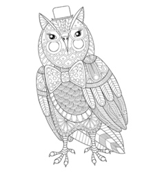 Zentangle owl painting for adult anti stress vector