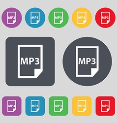 mp3 icon sign A set of 12 colored buttons Flat vector image vector image