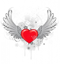 red heart with wings vector image vector image