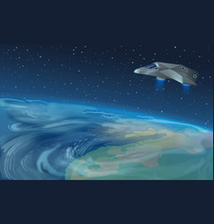 spaceship flying over vector image vector image