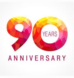 90 anniversary red logo vector