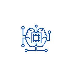 artificial intelligence chip with brain line icon vector image