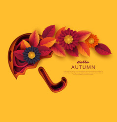 autumn 3d paper cut umbrella with leaves and vector image