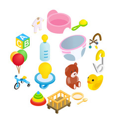 baby isometric 3d icon set vector image