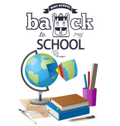 Back to school sticker with black-and white text vector