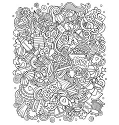 bahand drawn doodles funny vector image