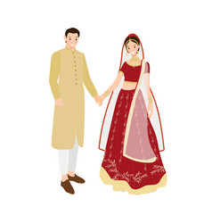 beautiful indian couple bride and groom in vector image