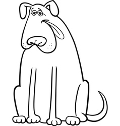 big dog cartoon for coloring book vector image