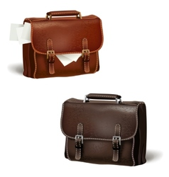 Black and brown leather briefcases vector