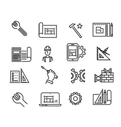 black building icons in simple style building vector image
