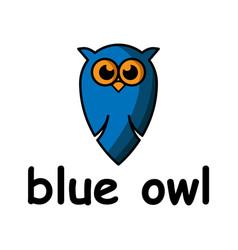 blue cute owl cartoon character logo design vector image