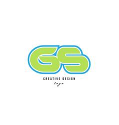 blue green alphabet letter gs g s logo icon design vector image