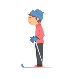 boy skiing wearing warm clothes kid doing winter vector image