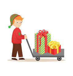 boy with cart and presents vector image