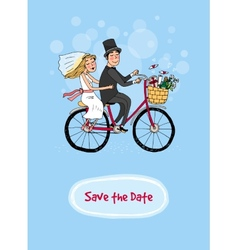 Bride and groom on a bicycle - Save The Date vector image vector image