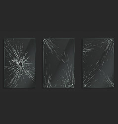 broken glass frames with cracks and hole vector image