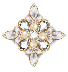 Brooch jewelry design element tribal ethnic vector