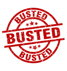 Busted round red grunge stamp vector