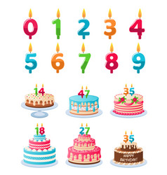 cakes with candle numbers anniversary birthday vector image
