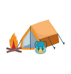 Camping tent rucksack bonfire cartoon isolated vector