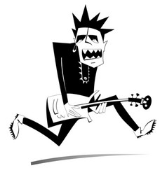 cartoon guitar player isolated vector image
