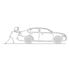 cartoon of man or businessman pushing broken car vector image
