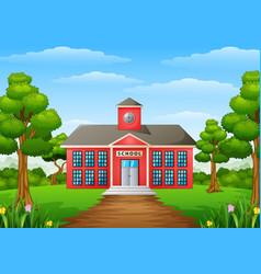 Cartoon school building with green yard vector