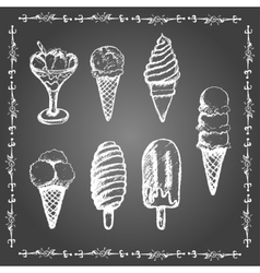 Chalk ice cream set vector