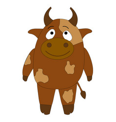 cheerful brown cow on a white background cute vector image