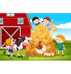 Children playing with farm animals in farm vector