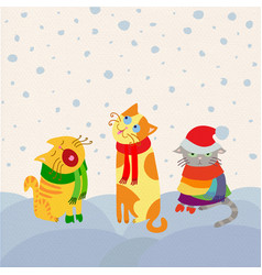 Christmas cats card vector