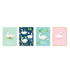 collection beautiful swans posters for design vector image