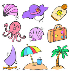 collection summer object doodle set vector image