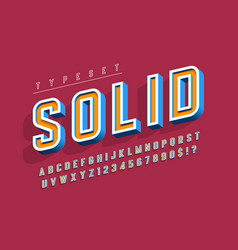 condensed bold 3d display font alphabet letters vector image