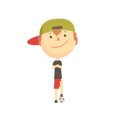 Cool smiling cartoon boy playing with a ball kids vector