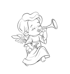 Cute baby angel making music playing trumpet vector