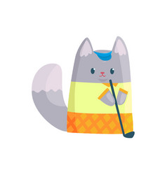 cute businessman cat playing golf funny animal vector image