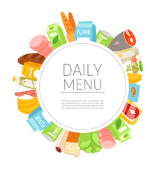 daily menu circle products meal for every day vector image